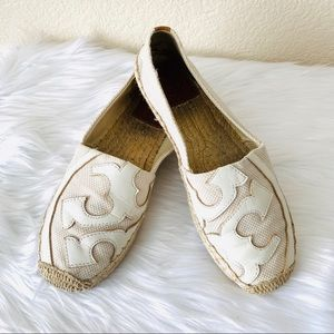 {Tory Burch} Lonnie Canvas Logo Espadrilles